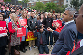 London Mayor Sadiq Khan. Tulip Siddiq launches her campaign to retain Hampstead and Kilburn, the tenth most marginal Labour parliamentary seat in the UK.  Swiss Cottage, London.