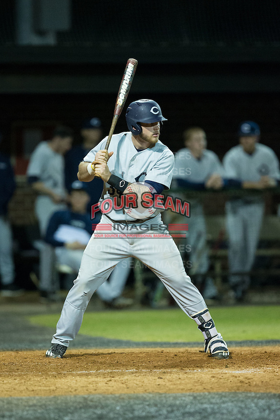 Nick Coble (34) of the Catawba Indians at bat against the Belmont Abbey Crusaders at Abbey Yard on February 7, 2017 in Belmont, North Carolina.  The Crusaders defeated the Indians 12-9.  (Brian Westerholt/Four Seam Images)