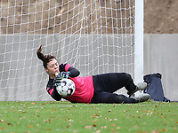 Goalkeeper Sara Missair (21 Charleroi) makes a save during the warm up before a female soccer game between FC Femina White Star Woluwe and Sporting Charleroi on the 10 th matchday of the 2020 - 2021 season of Belgian Scooore Womens Super League , Saturday 19 th of December 2020  in Woluwe , Belgium . PHOTO SPORTPIX.BE | SPP | SEVIL OKTEM