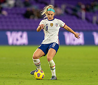 ORLANDO, FL - JANUARY 18: Julie Ertz #8 of the USWNT passes the ball during a game between Colombia and USWNT at Exploria Stadium on January 18, 2021 in Orlando, Florida.