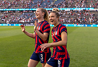 EAST HARTFORD, CT - JULY 5: Samantha Mewis #3 and Kristie Mewis #6 of the USWNT wave to the crowd during a game between Mexico and USWNT at Rentschler Field on July 5, 2021 in East Hartford, Connecticut.