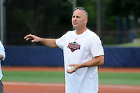 Under Armour All-American coach and former major league player Billy Ripken explains a drill at the University of Illinois at Chicago on August 22, 2013 in Chicago, Illinois in preparation for the Under Armour All-American Game that will take place at Wrigley Field on August 24th.  (Mike Janes/Four Seam Images)
