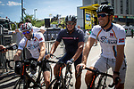 On Norwegian Day former champions Thor Hushovd, Oddbjørn Hjelmeseth and Dag Otto Lauritzen promoting the Artic Tour of Norway run by ASO, at the end of Stage 3 of the 2019 Tour de France running 215km from Binche, Belgium to Epernay, France. 8th July 2019.<br /> Picture: ASO/Marie-Christine Lieu | Cyclefile<br /> All photos usage must carry mandatory copyright credit (© Cyclefile | ASO/Marie-Christine Lieu)