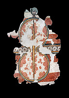 The 'figure of eight shield'  Mycenaean fresco wall painting, Mycenae, Greece Cat No 11672. National Archaeological Museum, Athens.  Black Background<br /> <br /> The Mycenaean 'figure of eight shield' were originaly made of cows hide and was the symbol of a goddess of war.