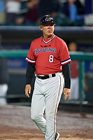Rochester Red Wings manager Mike Quade (8) during the first game of a doubleheader against the Scranton/Wilkes-Barre RailRiders on August 23, 2017 at Frontier Field in Rochester, New York.  Rochester defeated Scranton 5-4 in a game that was originally started on August 22nd but postponed due to inclement weather.  (Mike Janes/Four Seam Images)