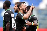 Francesco Caputo of US Sassuolo celebrates after scoring the goal of 2-0 for his side <br /> Reggio Emilia 22/09/2019 Stadio Citta del Tricolore <br /> Football Serie A 2019/2020 <br /> US Sassuolo - SPAL <br /> Photo Andrea Staccioli / Insidefoto