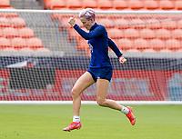 HOUSTON, TX - JUNE 9: Megan Rapinoe #15 of the USWNT celebrates during a training session at BBVA Stadium on June 9, 2021 in Houston, Texas.