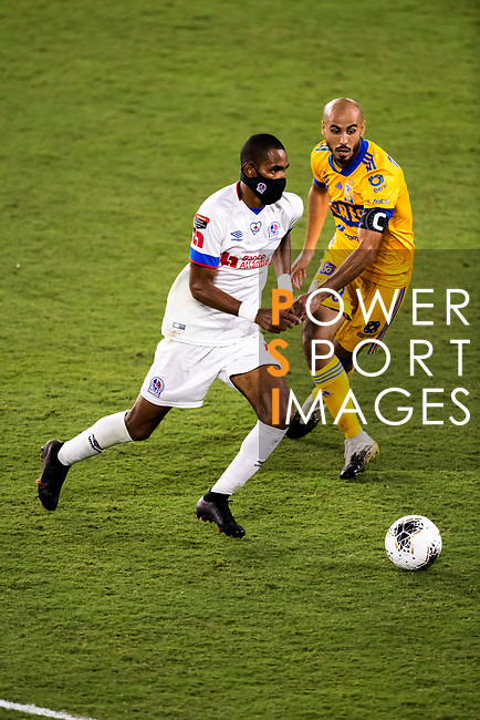 Jerry Bengtson of CD Olimpia (HON) in action against Tigres UANL (MEX) during their CONCACAF Champions League Semi Finals match at the Orlando's Exploria Stadium on 19 December 2020, in Florida, USA. Photo by Victor Fraile / Power Sport Images
