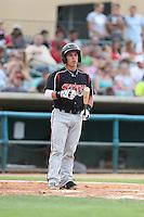 Jeremy Rodriguez #3 of the Lake Elsinore Storm bats against the Lancaster JetHawks at The Hanger on August 2, 2014 in Lancaster, California. Lake Elsinore defeated Lancaster, 5-1. (Larry Goren/Four Seam Images)