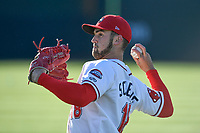Starting pitcher Alex Scherff (18) of the Greenville Drive warms up before a game against the Columbia Fireflies on Monday, April 16, 2018, at Fluor Field at the West End in Greenville, South Carolina. (Tom Priddy/Four Seam Images)