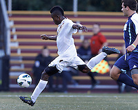 Boston College midfielder Derrick Boateng (7) scores on a break away. Boston College defeated University of Rhode Island, 4-2, at Newton Campus Field, September 25, 2012.