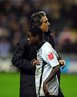 ATTENTION SPORTS PICTURE DESK<br /> Pictured: Paulo Sousa Manager of Swansea City shakes hands with Nathan Dyer of Swansea City<br /> Re: Coca Cola Championship, Swansea City Football Club v Leicester City at the Liberty Stadium, Swansea, south Wales. Saturday 16 January 2010