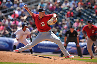 Springfield Cardinals Corey Baker (38) throws during the game against the Northwest Arkansas Naturals at Arvest Ballpark on May 4, 2016 in Springdale, Arkansas.  Springfield won 10-6.  (Dennis Hubbard/Four Seam Images)