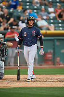 Jose Fernandez (13) of the Salt Lake Bees bats against the El Paso Chihuahuas at Smith's Ballpark on July 5, 2018 in Salt Lake City, Utah. El Paso defeated Salt Lake 3-2. (Stephen Smith/Four Seam Images)