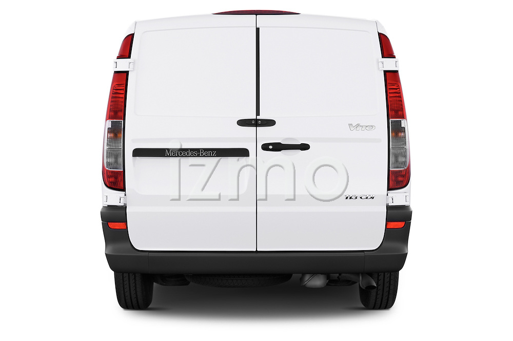 Straight rear view of a 2013 Mercedes Benz Vito 113CDi SWB Long 4 Door Cargo Van 2WD Rear View  stock images