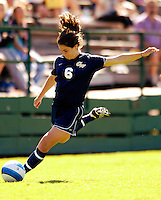 2 September 2007: George Washington University Colonials' Liz Hillin, a Sophomore from Massapequa, NY, in action against the University of Vermont Catamounts at Historic Centennial Field in Burlington, Vermont. The Colonials rallied to defeat the Catamounts 2-1 in overtime during the TD Banknorth Soccer Classic...Mandatory Photo Credit: Ed Wolfstein Photo