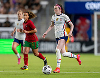 HOUSTON, TX - JUNE 10: Rose Lavelle #16 of the USWNT dribbles during a game between Portugal and USWNT at BBVA Stadium on June 10, 2021 in Houston, Texas.