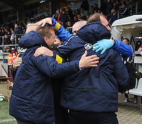20160417 - WESTERLO , BELGIUM : Lierse's technical staff celebrating after their win in the final of Belgian cup 2016 , a soccer women game between SK Lierse Dames and RSC Anderlecht  , in stadion Het Kuipje Westerlo , sunday 17 th April 2016 . PHOTO SPORTPIX.BE / DIRK VUYLSTEKE