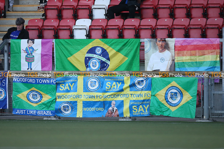 Woodford Town banners during Woodford Town vs London Colney, Emirates FA Cup Football at The Harlow Arena on 31st August 2020