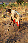 Kalepo, Tanzania. Man digging in poor, sandy soil using a wooden hand plough.