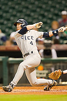 Derek Hamilton #4 of the Rice Owls follows through on his swing against the Tennessee Volunteers at Minute Maid Park on March 4, 2012 in Houston, Texas.  The Owls defeated the Volunteers 11-1.  Brian Westerholt / Four Seam Images