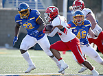 BROOKINGS, SD - MARCH 13: Tolu Ogunrinde #22 of the South Dakota State Jackrabbits tracks down running back Christian Turner #20 of the Youngstown State Penguins at Dana J. Dykhouse Stadium on March 13, 2021 in Brookings, South Dakota. (Photo by Dave Eggen/Inertia)