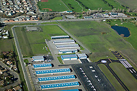 aerial photograph of the western end of the Petaluma Municipal Airport (O69), showing the access from East Washington Street, Petaluma, Sonoma County, California.