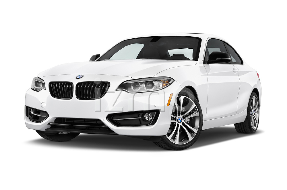 Stock pictures of low aggressive front three quarter view of 2017 BMW 2-Series 230i 2 Door Coupe Low Aggressive