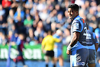 Rey Lee-Lo of Cardiff Blues takes a cut to the eye during the Heineken Champions Cup Round 2 match between the Cardiff Blues and Glasgow Warriors at Cardiff Arms Park Stadium in Cardiff, Wales, UK. Sunday 21 October 2018