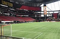 ATLANTA, GA - AUGUST 22: Mercedes Benz Stadium no fans for match during a game between Nashville SC and Atlanta United FC at Mercedes-Benz Stadium on August 22, 2020 in Atlanta, Georgia.
