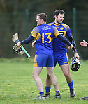 Newmarket players Coli Ryan and James Mc Inerney celebrate their win over Sixmilebridge in the Clare Champion Cup final at Clonlara. Photograph by John Kelly.