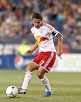 New York Red Bulls forward Tim Cahill (17) passes the ball. Despite a red-card man advantage, in a Major League Soccer (MLS) match, the New England Revolution tied New York Red Bulls, 1-1, at Gillette Stadium on September 22, 2012.