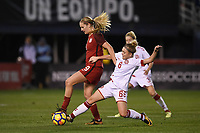 San Diego, CA - Sunday January 21, 2018: Lindsey Horan, Nanna Christiansen prior to an international friendly between the women's national teams of the United States (USA) and Denmark (DEN) at SDCCU Stadium.
