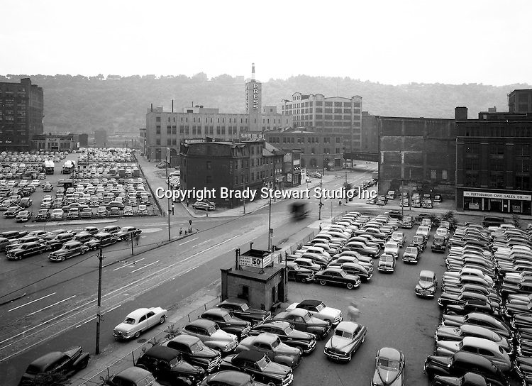 Pittsburgh PA: View across Liberty Avenue toward 3rd Avenue and the Boulevard the Allies before Gateway Center.