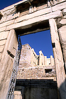 Ancient Greece Acropolis in Athens Greece entrance thru doorway
