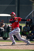 Cincinnati Reds third baseman Juan Martinez (65) follows through on his swing during an Instructional League game against the Oakland Athletics on September 29, 2017 at Lew Wolff Training Complex in Mesa, Arizona. (Zachary Lucy/Four Seam Images)