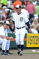 Detroit Tigers manager Jim Leyland #10 during a Spring Training game against the New York Mets at Joker Marchant Stadium on March 11, 2013 in Lakeland, Florida.  New York defeated Detroit 11-0.  (Mike Janes/Four Seam Images)