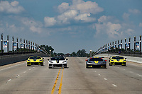 Chevrolet Racing and Chevrolet introduce IMSA limited edition Corvette street cars.  The cars are shown on the iconic Belle Isle bridge with the Corvette Pace Car for the Chevrolet Sports Car Classic, and the actual #4 IMSA GTLM Corvette