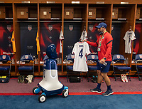 NASHVILLE, TN - SEPTEMBER 5: Kyle Robertson of the United States gives a tour CHAMP during a game between Canada and USMNT at Nissan Stadium on September 5, 2021 in Nashville, Tennessee.