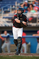 Batavia Muckdogs catcher Jared Barnes (26) throws down to third base after a strikeout during a game against the Auburn Doubledays on August 26, 2017 at Dwyer Stadium in Batavia, New York.  Batavia defeated Auburn 5-4.  (Mike Janes/Four Seam Images)