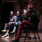 "Holli Campbell, Sabrina imamura, Lauren Boyd and Bryan Terrell Clark attends the cast Q & A during The Rockefeller Foundation and The Gilder Lehrman Institute of American History sponsored High School student #EduHam matinee performance of ""Hamilton"" at the Richard Rodgers Theatre on October 24, 2018 in New York City."