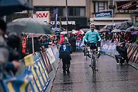 Laurens de Vreese (BEL/Astana) in an entertaining mood on his way back from sign-on<br /> <br /> 73rd Dwars Door Vlaanderen 2018 (1.UWT)<br /> Roeselare - Waregem (BEL): 180km
