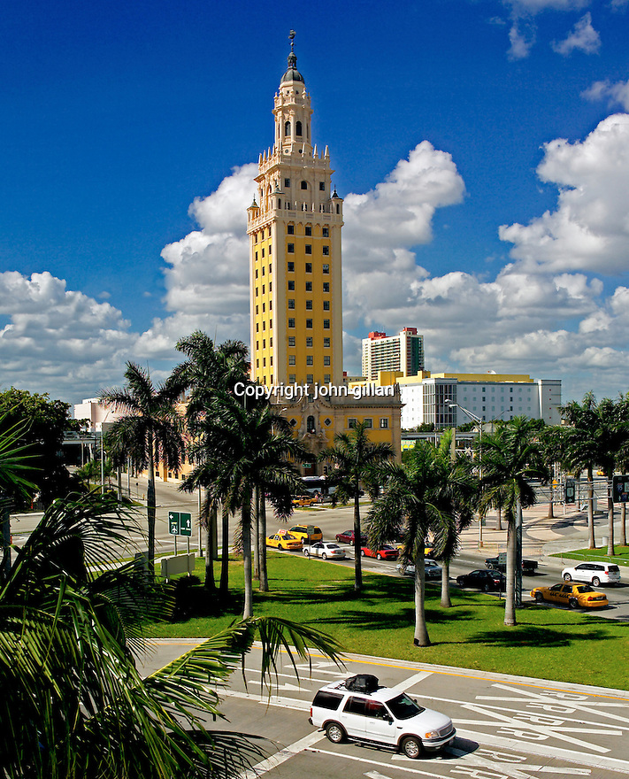 Architectural exterior view of the Freedom Tower on Biscayne Blvd.