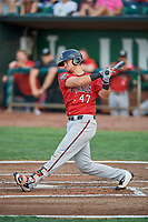 Pabel Manzanero (47) of the Billings Mustangs bats against the Ogden Raptors at Lindquist Field on August 18, 2018 in Ogden, Utah. Billings defeated Ogden 6-4. (Stephen Smith/Four Seam Images)