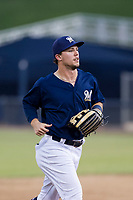 AZL Brewers center fielder Tristen Lutz (45) jogs off the field between innings of the game against the AZL Padres 2 on September 2, 2017 at Maryvale Baseball Park in Phoenix, Arizona. AZL Brewers defeated the AZL Padres 2 2-0. (Zachary Lucy/Four Seam Images)