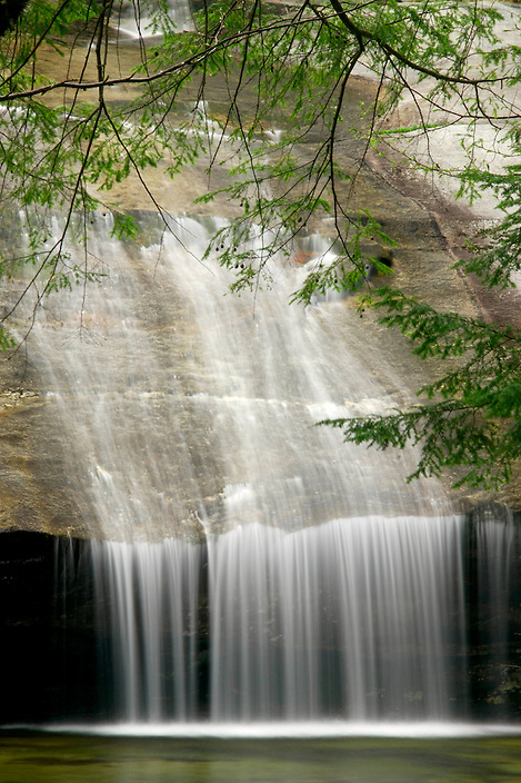 The Bearcamp River forms a curtain of water as it flows over Beede Falls.