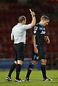 Simon Heslop of Stevenage is booked by referee Stephen Martin<br />  - Crewe Alexandra v Stevenage - Sky Bet League One - Alexandra Stadium, Gresty Road, Crewe - 22nd October 2013. <br /> © Kevin Coleman 2013<br />  <br />  <br />  <br />  <br />  <br />  <br />  <br />  <br />  <br />  <br />  <br />  <br />  <br />  <br />  <br />  <br />  <br />  <br />  <br />  <br />  <br />  <br />  <br />  <br />  <br />  <br />  <br />  <br />  <br />  <br />  <br />  <br />  <br />  <br />  <br />  - Crewe Alexandra v Stevenage - Sky Bet League One - Alexandra Stadium, Gresty Road, Crewe - 22nd October 2013. <br /> © Kevin Coleman 2013