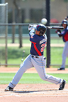 Anthony Santander #29 of the Cleveland Indians bats during a Minor League Spring Training Game against the Los Angeles Dodgers at the Los Angeles Dodgers Spring Training Complex on March 22, 2014 in Glendale, Arizona. (Larry Goren/Four Seam Images)