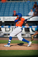 Syracuse Mets Rajai Davis (21) at bat during an International League game against the Charlotte Knights on June 11, 2019 at NBT Bank Stadium in Syracuse, New York.  Syracuse defeated Charlotte 15-8.  (Mike Janes/Four Seam Images)
