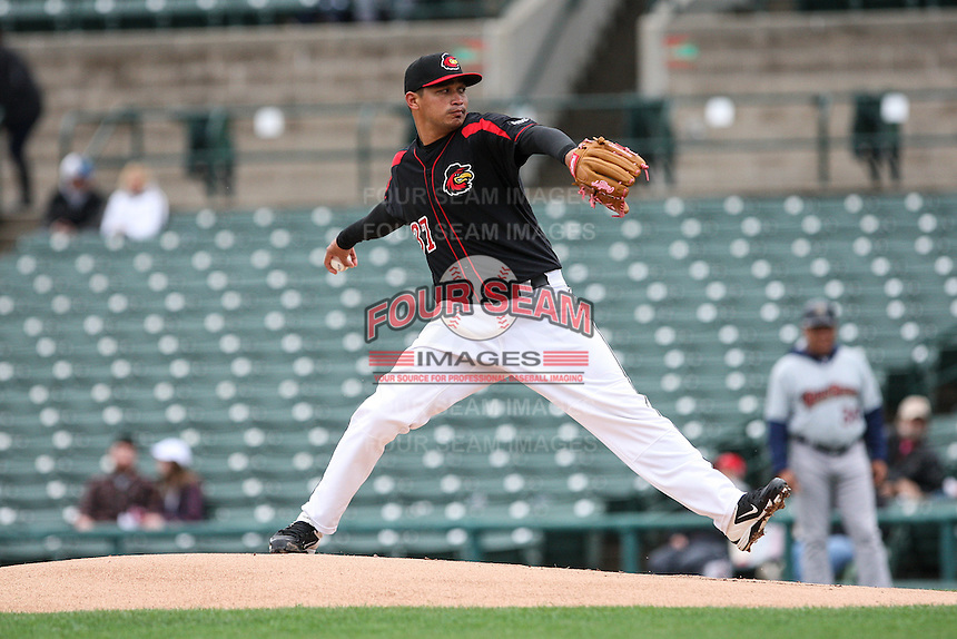 Starting pitcher David Martinez (37) of the Rochester Red Wings throws a pitch against the Scranton Wilkes-Barre Railriders on May 1, 2016 at Frontier Field in Rochester, New York. Red Wings won 1-0.  (Christopher Cecere/Four Seam Images)